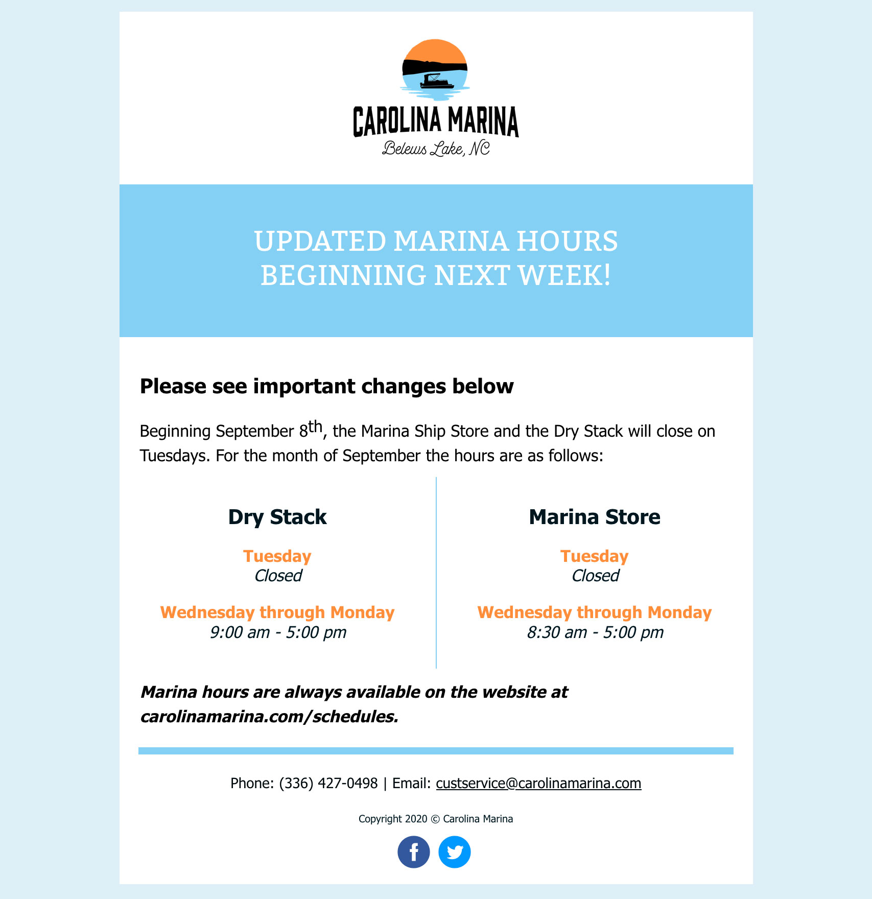 Updated Marina Hours!